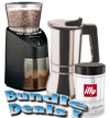 Grinder, Espresso Maker Stove Top and Espresso Bundle